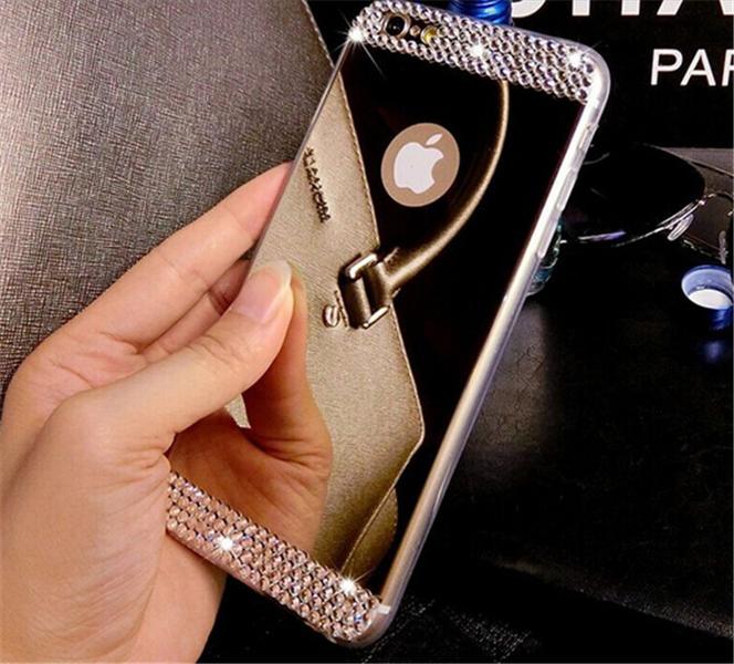 Skal Iphone 5/5S med spegelbaksida -STRASS -Guld
