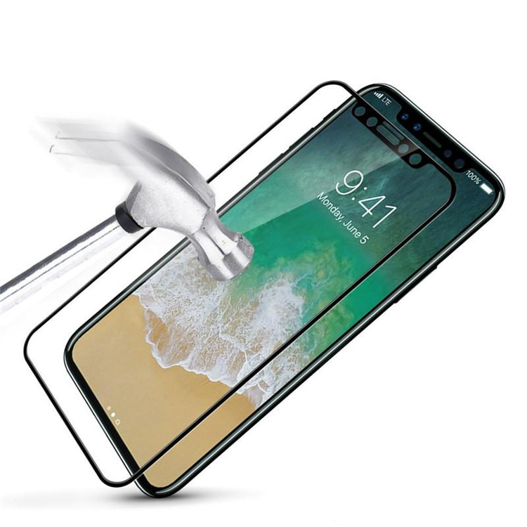 HD Clear 3D Härdat Glas - Iphone X - Heltäckande -Svart