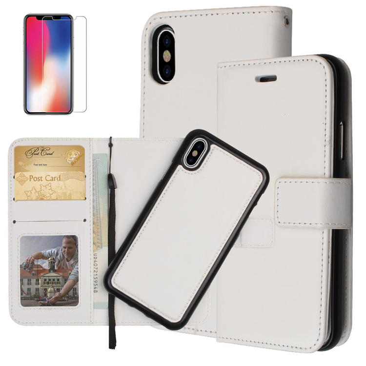 """Magnetskal/plånbok """"2 i 1"""" iPhone X ink härdat glas - Flera färger"""