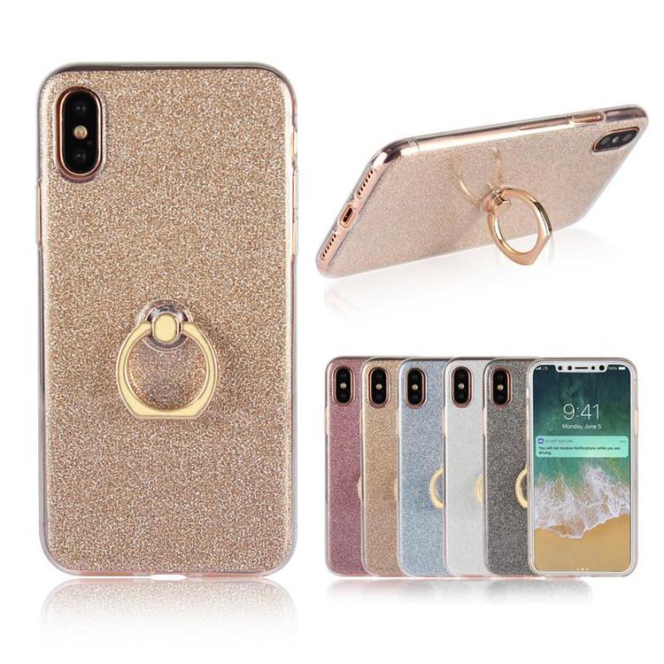 Lyxigt glitter skal med ringhållare till iPhone X -Flera färger