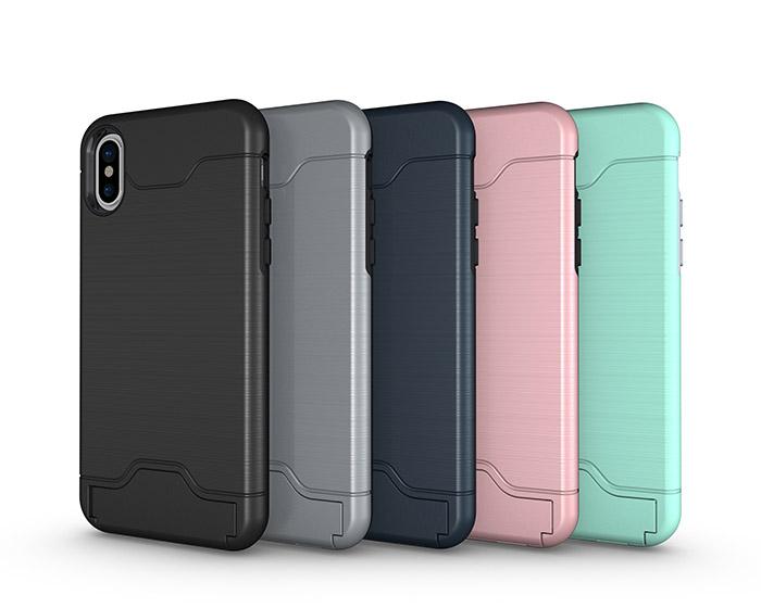 Elegant iPhone X Skal med kortfack -Flera färger