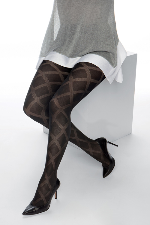 Strumpbyxa mönstrad 50 den Cardiff svart 2 XL