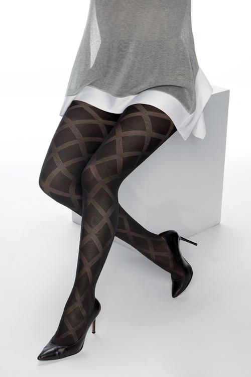 Strumpbyxa mönstrad 50 den Cardiff svart 1 XL
