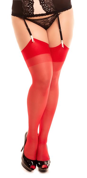 Stockings 2XL röd plus size