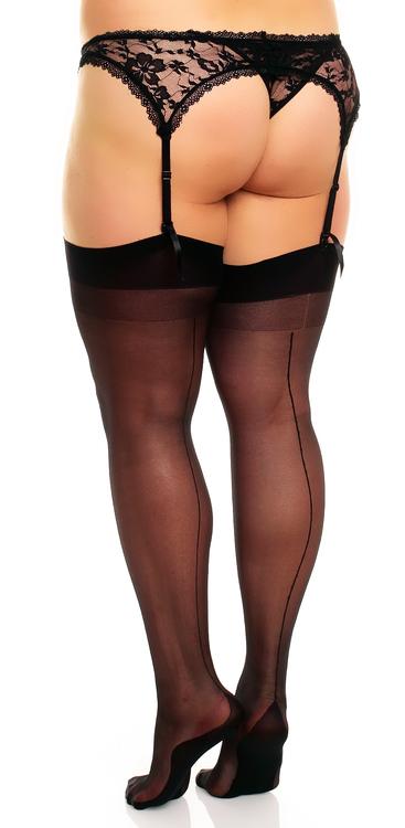Stocking med svart söm och svart strumpa 1XL