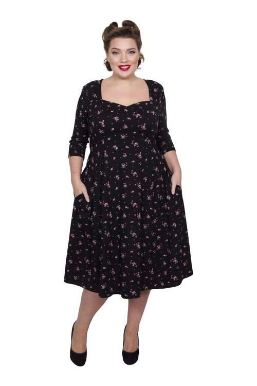 Blommig 40 tals klänning svart