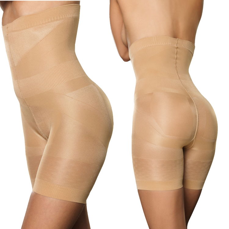 Hög shapingtrosa med ben beige Plus size