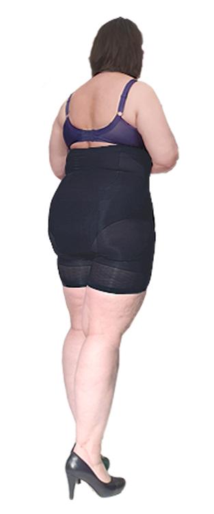 Hög shapingtrosa med ben svart Plus size