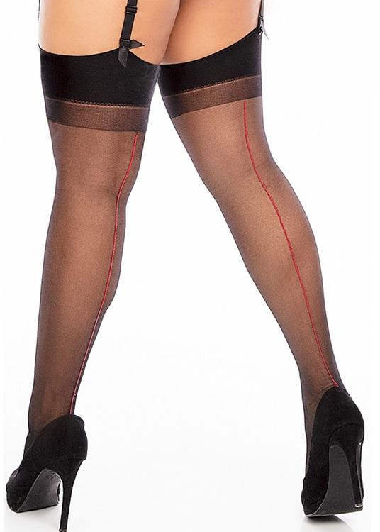 Stocking med röd söm och svart strumpa 1XL