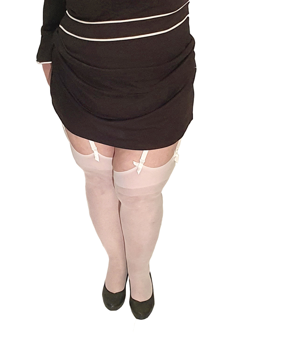 stockings vit plus size stor storlek