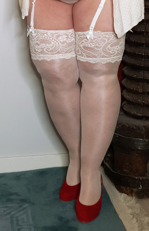Blank stocking med bred  spets vit 2xl
