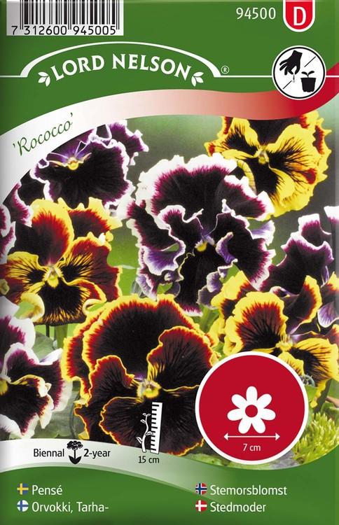 Pensé, Rococo, storbl. blandade färger