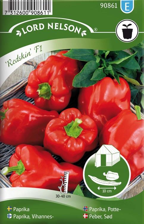 Paprika, Kruk-, Redskin F1, röd