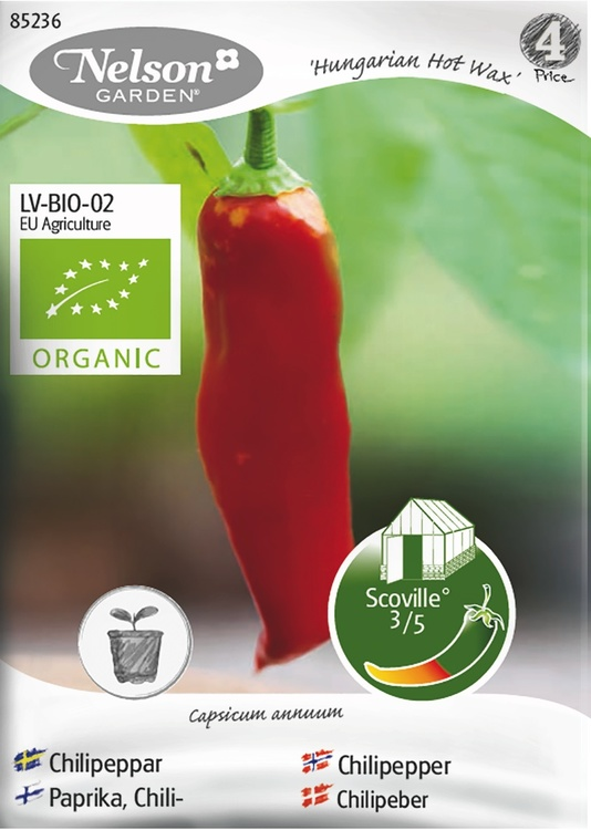 Chilipeppar, Hungarian Hot Wax, Organic