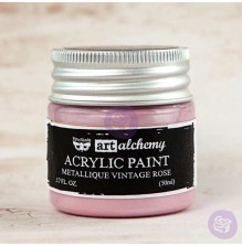 Prima Finnabair Art Alchemy Acrylic Paint 50ml - Metallique Vintage Rose