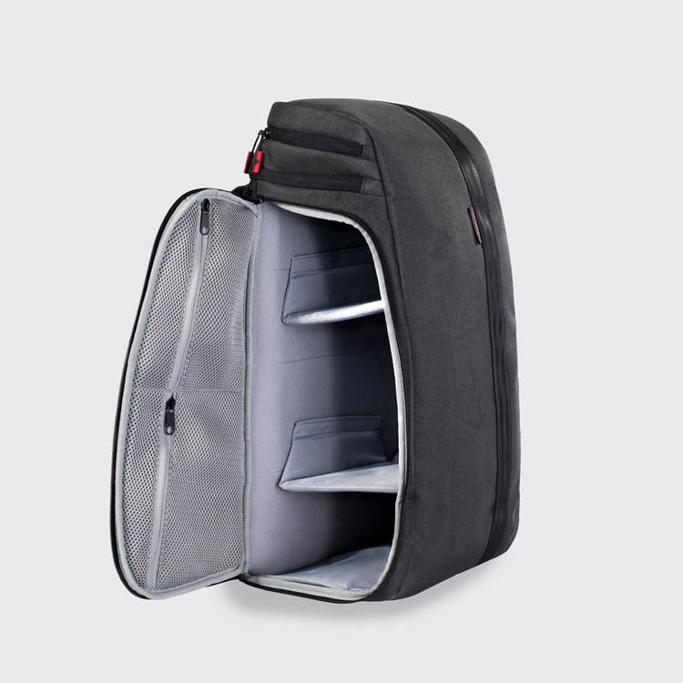 The ZEEKER, 29L Backpack with movable dividers.