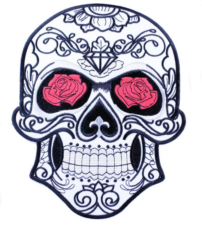 White skull/roses XL