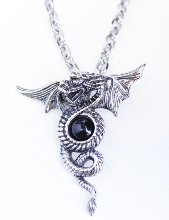 Halsband Dragon black stone