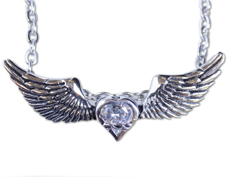 Halsband Heart/wings/white stone