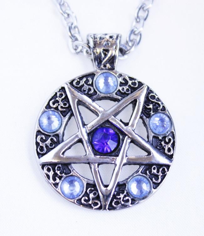Halsband Pentagram/ Blue stones