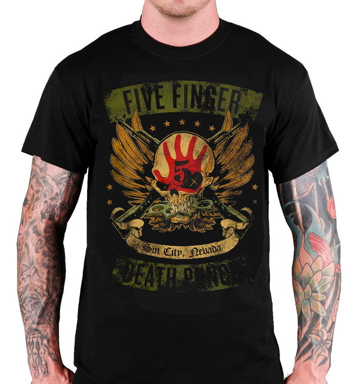 "Five finger death punch ""Looked & loaded"" T-shirt"
