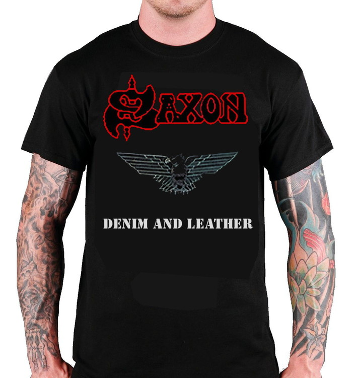 Saxon 'Denim And Leather' T-Shir