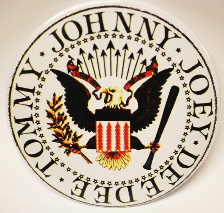 Ramones white logo XL badge
