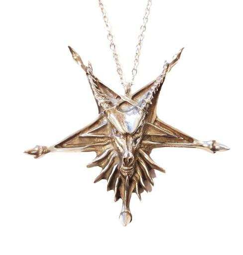 Necklace satanic goat pentagram dragon claws