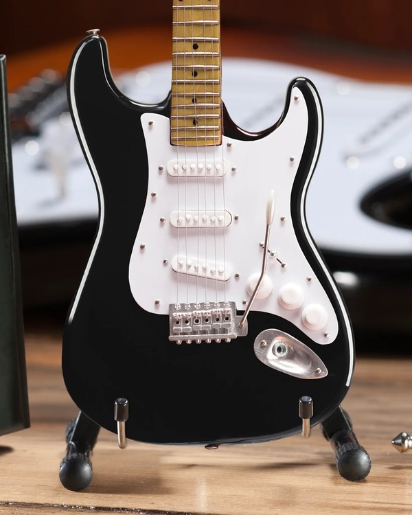 Black Fender™ Strat™ Classic Miniature Guitar Replica