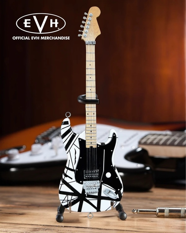 EVH Black & White VH1 Eddie Van Halen Mini Guitar Replica Collectible