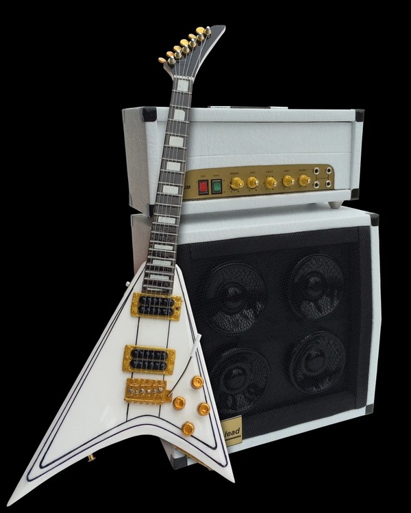 Randy Rhoads Signature White Flying V Miniature Guitar with white amp