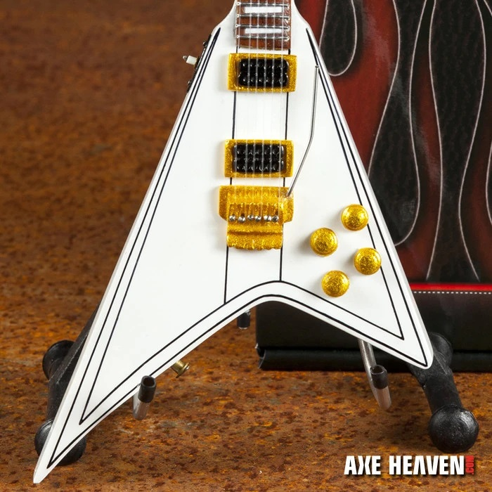 Randy Rhoads Signature White Flying V Miniature Guitar with white amp