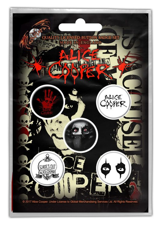Alice Cooper 'Eyes' Button Badge 5-Pack