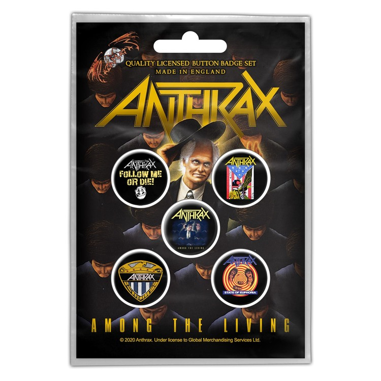 Anthrax 'Among The Living' Button Badge 5-Pack