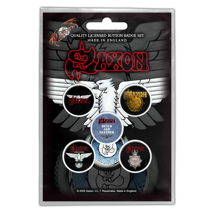 Saxon 'Wheels Of Steel' Button Badge 5-Pack