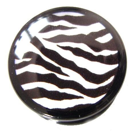 Akrylplugg Zebra svart/vit 6-20mm