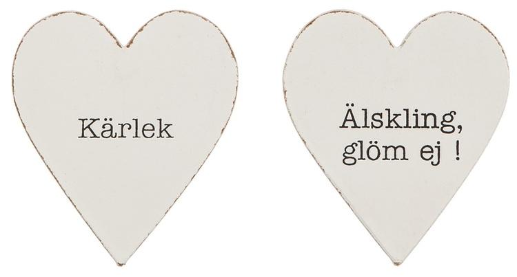 Kylskåpsmagnet i trä i form av ett hjärta med text, 2 varianter