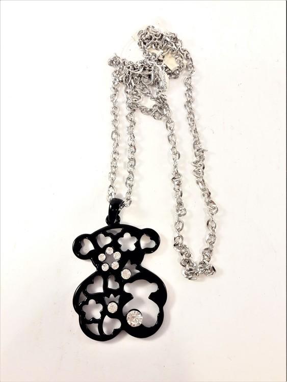 Halsband med hänge av Tous Nalle och strass i svart