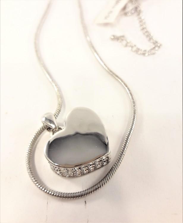 Halskedja med hjärta och strass, silverfärg