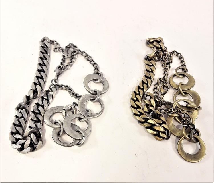 Dubbelt metall armband i brons eller silverfärg