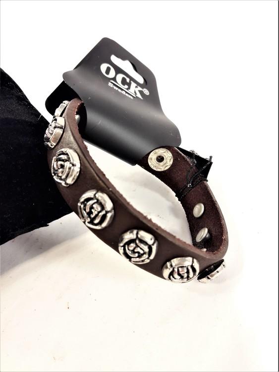 Armband Brun Läder med Rosor i Metall