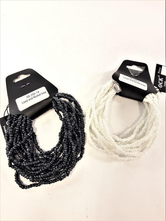 Flerradigt armband med små pärlor, två varianter