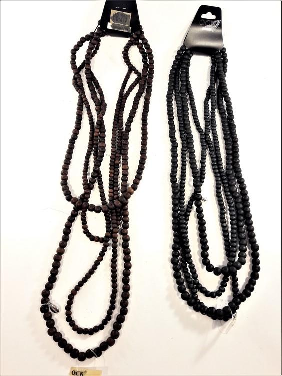 Flerradigt halsband med träkulor, svart eller brunt