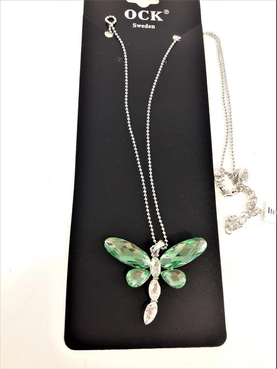 Vackert skimrande fjäril i halskedja, grön eller flerfärgad