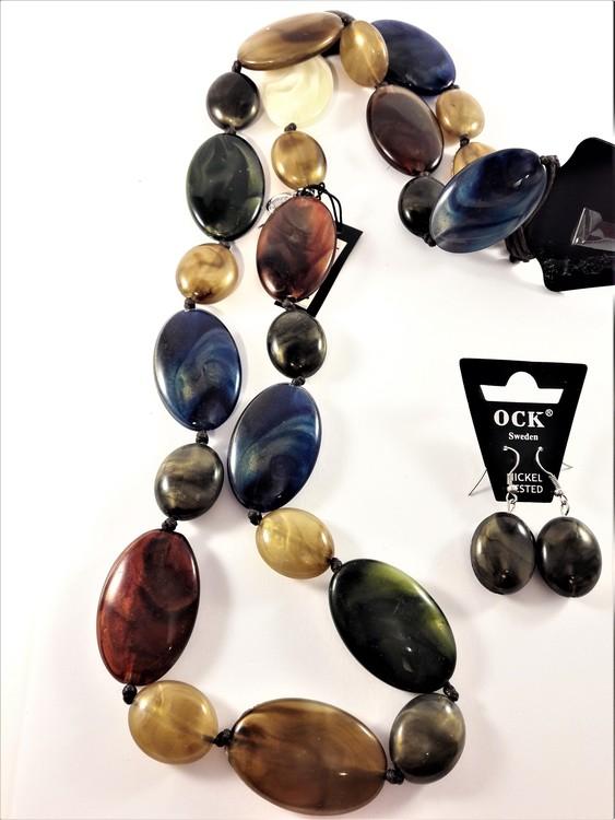 Halsband och matchande örhänge med stora polerade stenar, mix av bruna färger m.fl.