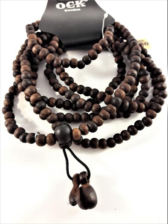 7-radigt armband med träkulor i brunt