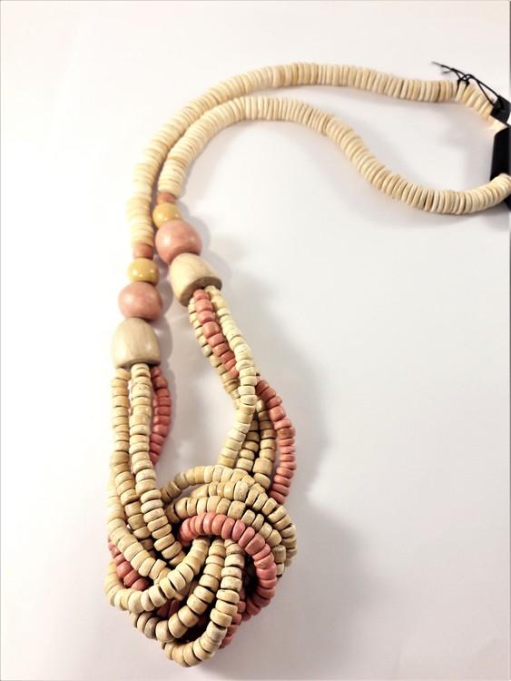 Flerradigt halsband i trä, ca 100 cm