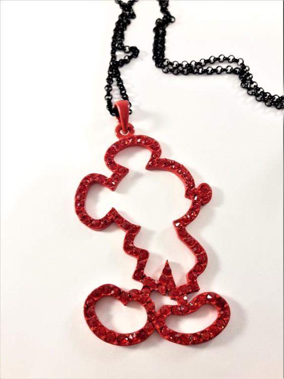 Halsband med Musse Pigg siluett i rött med strasspärlor