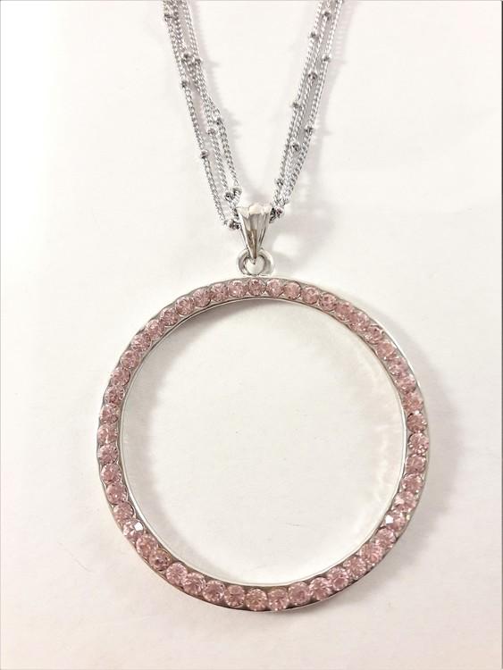 Halsband med ring i silverfärg med strasstenar i rosa