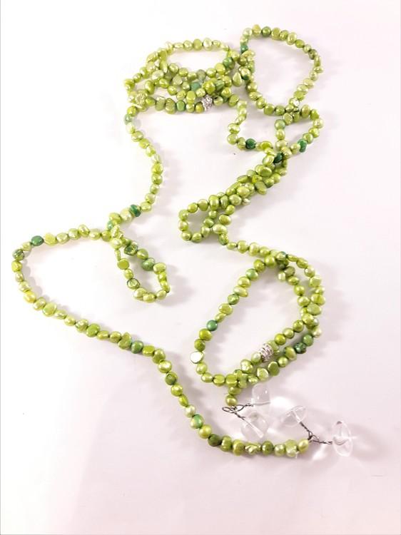 Öppet Halsband med Små Pärlor Grön
